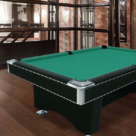 Black pool table with green felt