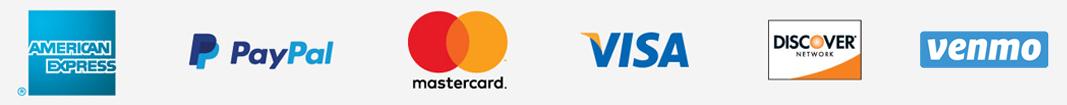 American Express, PayPal, Mastercard, Visa, Discover, Venmo