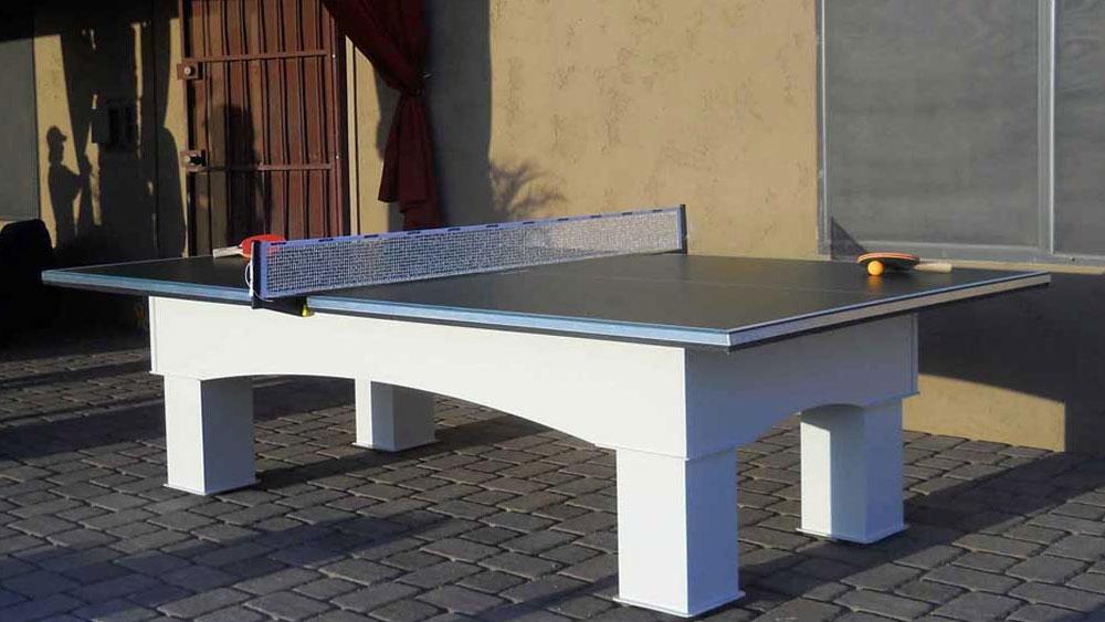 An outdoor table tennis table.