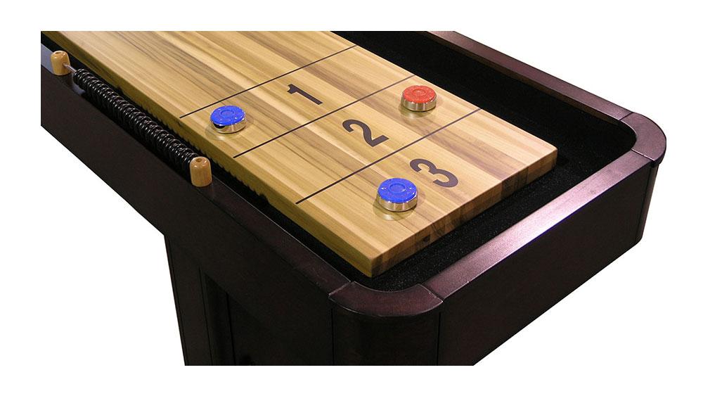 A shuffleboard's scoring area.